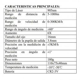 Caracteristicas Telemetro Laser medidor Velocidad, Distancia y Altura Rangefinder Aofar AF1000 alta precisión