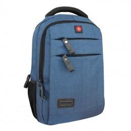 Vista de frente Mochila Azul elegante para Notebook 15,6 bolsillo para botella y 2 bolsillos frontales 240C