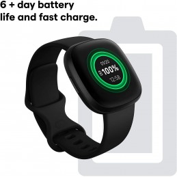 Fitbit smartwatch versa 3 negro con monitoreo de frecuencia cardiaca