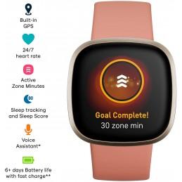 Fitbit Smartwatch versa 3 pink clay monitoreo frecuencia