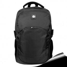 Mochila Notebook 15,6 Negro rojo doble compartimento, bolsillo para botella 316B